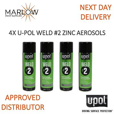 4 X U-Pol Weld 2 Zinc Weld Through Primer Aerosols - Upol