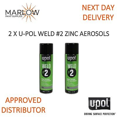 2 X U-Pol Weld 2 Zinc Weld Through Primer Aerosols - Upol