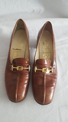 651b7a48aaf Salvatore Ferragamo Saks Fifth Avenue brown leather shoes 7.5 AAA Italy  Vintage