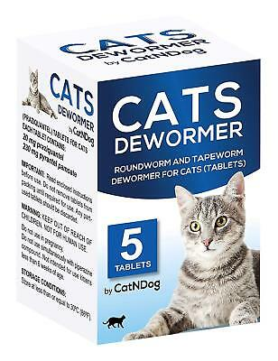 CatNDog Cat Wormers - Cats Dewormer Round and Tapewormer Tablets for Cats, 5 PC