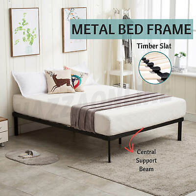 Janvier16 Metal Bed Frame Mattress Wooden Base Queen Double King Single Size