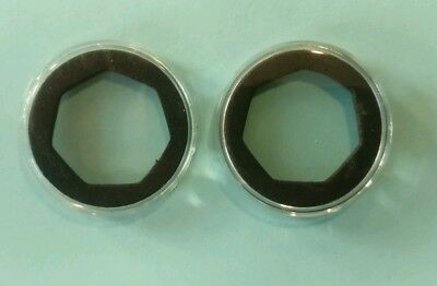 2 New Coin Capsules [45mm] with large sized 7-sided 50p Black Foam Inserts
