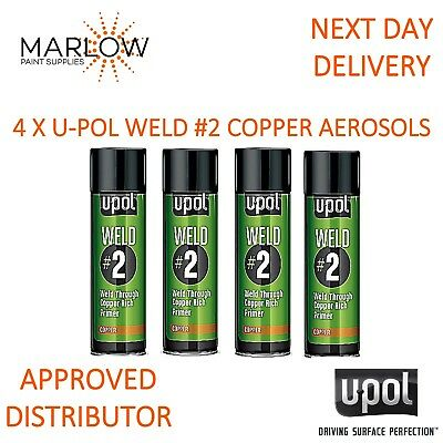 4 X U-Pol Weld # 2 Weld Through Primer Copper Aerosol