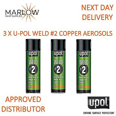 3 X Upol Weld # 2 Weld Through Primer Copper U-Pol Aerosol