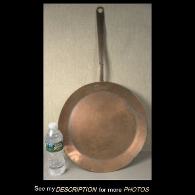 "Antique Primitive Large Copper Frying Pan 13"" Handle"