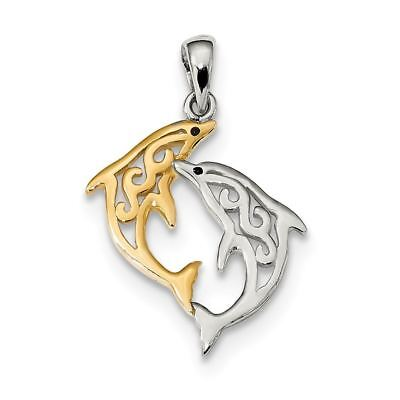 Sterling Silver and Gold-Tone Enameled Filigree Dolphins Charm Pendant MSRP $46
