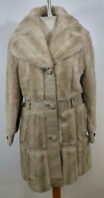 Vintage 70's Faux Mink Fur Leather Trench Coat One World England