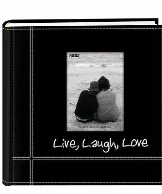 """Photo Album Embroidered Live Laugh Love Sewn Leatherette for 4""""x6"""" Prints"""