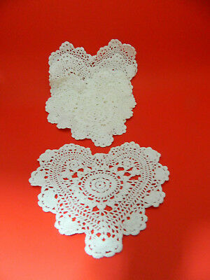 "6 Pc Sz- Meduim of 8"" WHITE HEART SHAPE DOILIES COTTON CROCHET LACE HANDMADE"
