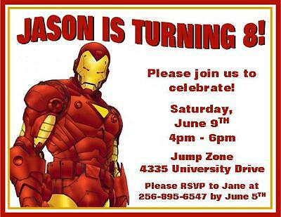 12 Custom Iron Man Birthday Invitations Style 3 1375 Picclick