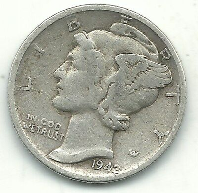 A Very Nice Vintage 1942 P Mercury Silver Dime-Old Us Coin-Jan477