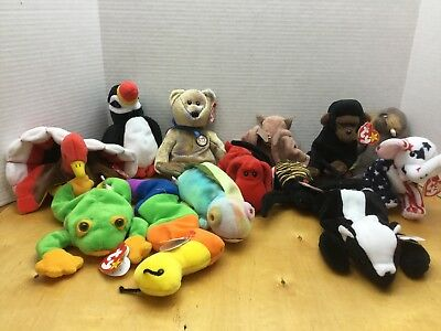 32b55ebca50 LOT Of 13 TY BEANIE BABIES COLLECTION Plush Stuffed Animals Toys NICE And N  EW!