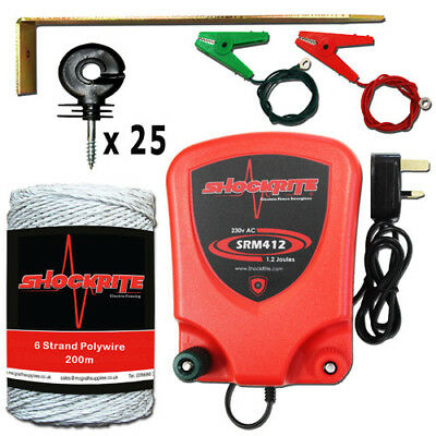 Mains Powered Electric Fence Energiser SRM412 1.2J White Polywire Starter Kit