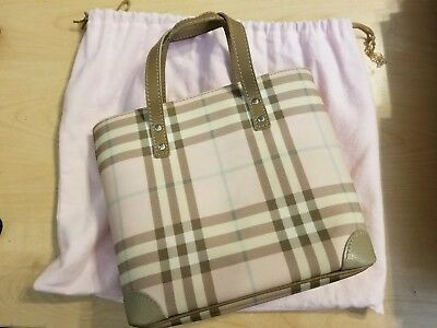 30bf0287b9a9 Vintage Burberry Small Tote Pink Pattern Handbag Authentic with Dust Bag