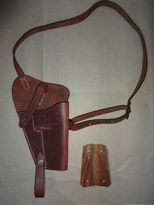 U.S. WWII M3 Brown Leather Shoulder Holster w/Hand Grips - Mid Brown - Repro NK7