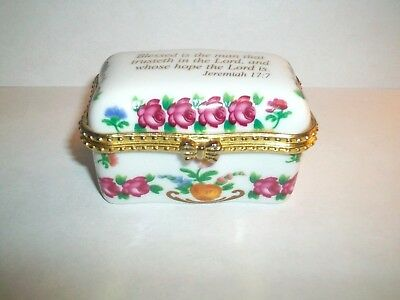 Imperial Porcelain Trinket Box Beautiful Floral Design With Jeremiah 17:7 On Lid