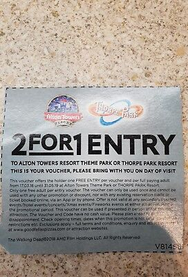 2 for 1 Entry Ticket Voucher For Alton Towers Or Thorpe Park