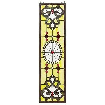 "36.5"" H x 9"" W Victorian Art in Bloom Tiffany-Style Stained Glass Window Panel"