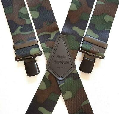 "Mens Braces Heavy Duty 1.5"" or 2"" Woodland  Camoflauge Fishing Camo Black Clips"