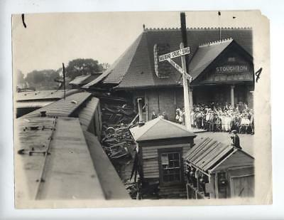 Vtg 1924 Stoughton, Mass RR Railroad Accident photo Train Wreck Newport Express