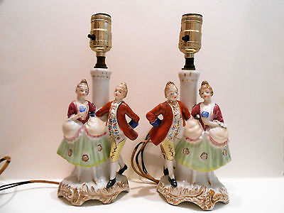 Victorian Couple Pair Antique Vintage Porcelain Lamps Made In Occupied Japan
