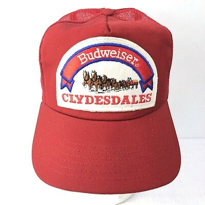 68f8d3b689c Vintage BUDWEISER CLYDESDALES 80s USA Made Red Mesh Trucker Hat Snapback  PATCH