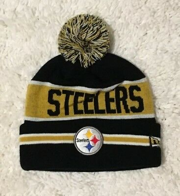 STEELERS NFL BEANIE Hat-Grey Knit Cap-Pittsburgh-Button Blast-New ... 5718c25f1