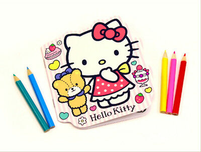 85ea6b1d5b37 New SANRIO Hello Kitty Cute Coloring Book with 5 color pencil set 8 page