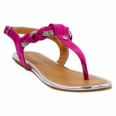 67961f1c6ffef2 NEW! LAURA ASHLEY  Tilly  Girls Braided Thong Sling-Back Buckle ...