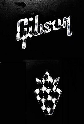 Gibson Guitar Crown Headstock OEM, 0.2% ENGINE TURNED Silver, Decal Sticker Logo