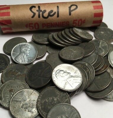 1943 P Steel Lincoln Wheat Penny Cent Roll - Fifty Coins Total BU UNC - CIRC
