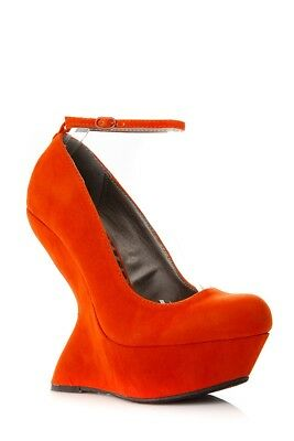 d5db14aaf5 Dollhouse Confession Womens Shoes Heelless Ankle Curved Orange Wedge Size  5.5