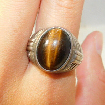 UK Hallmarked Vintage Sterling Silver Tigers Eye Cab Deco style sz 10 Ring 10i43