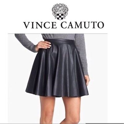 1dd5f7a250 Faux Leather Pleated Skater Skirt- Vince Camuto- Perforated Laser Cut Skirt-  6