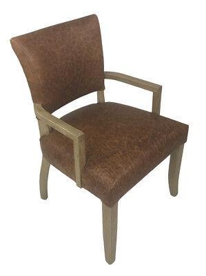Classic French Provincial Vintage Italian Brown Leather Dining Arm Chair - 2x Pc