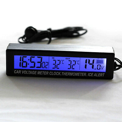 IN/OUT DIGITAL LCD AUTO CAR TEMPERATURE THERMOMETER CLOCK-VOLTAGE METER MONITORs