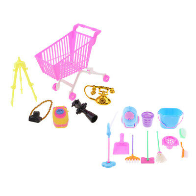 Shopping Cart Supermarket Trolleys & Mini Cleaning Toy for  Doll
