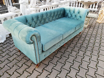 Chesterfield Sofa Couch Polster 3 Sitzer Textil Stoff Sofort