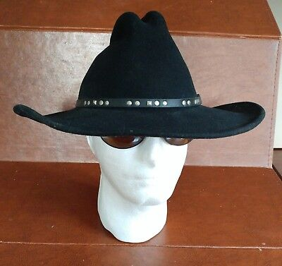 2d48f54135dc09 Bailey Cowboy Hat Mens Black Chisholm SZ M 100% Wool Silver Studs Made in  USA