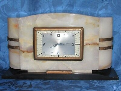 04E10 Antique Pendulum Clock Marble Art Déco Modernist 1930 Movement Bayard