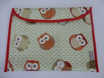 Baby Health  NHS Red Record Book Holder -'OWL' Oilcloth fabric SHOWER- GIFT -NEW