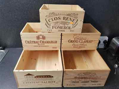 5 X Mixed Genuine French Wooden Wine Crates / Boxes Workshop Kitchen Storage.