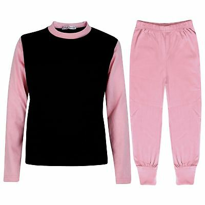 Kids Girls Pjs Contrast Baby Pink Color Plain Stylish Pyjamas Set Age 2-13 Years