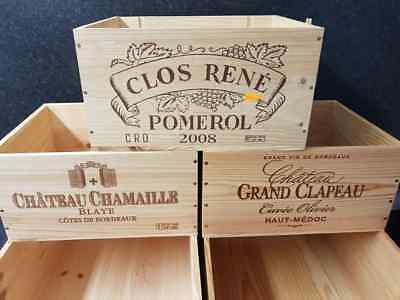 5 X Mixed Genuine French Wooden Wine Crates / Boxes Wedding Decoration Display.