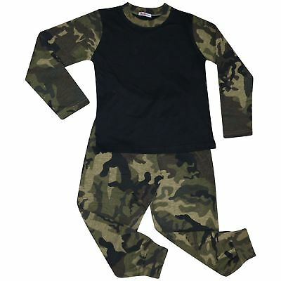 Kids Girls Boys Pjs Contrast Camouflage Green Plain Stylish Pyjamas Set 2-13 Yr