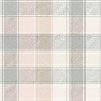 Arthouse Country Checked Pink & Grey Quality Tartan Wallpaper 901900