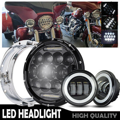 "75W 7""LED Headlight & 2PC 4.5"" Bk Passing Lights For Harley Motorcycle"