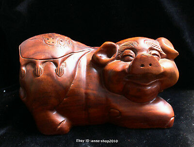 20cm China Natural red Jujube wood hand carved animal pig Statue Sculpture AIQO