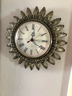 Vintage Smiths Sectric Sunburs wall Clock In Gold, Battery Powered.