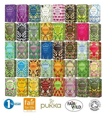 Pukka Herbal Organic Individually Enveloped Wrapped Tagged Tea Bags Sachets, UK